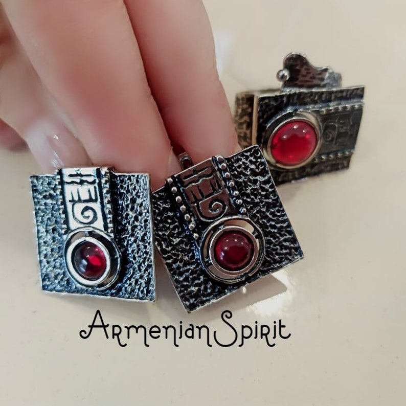 Armenian jewelry Ethnic Ring SET jewelry Sterling SILVER 925 Red stone taraz traditional Tribal pattern Bohemian red rings Handcrafted
