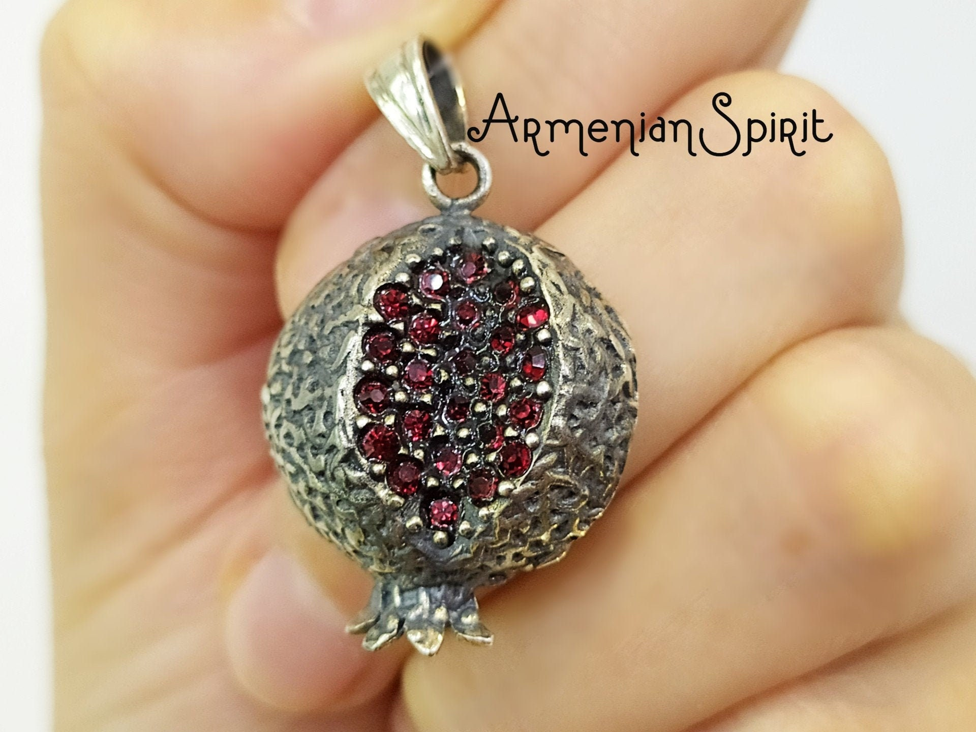 Judaica Jewelry Sterling Silver Pomegranate Pendant Pomegranate Pendant Necklace Red Crystals Gift for Her Pomegranate Jewelry
