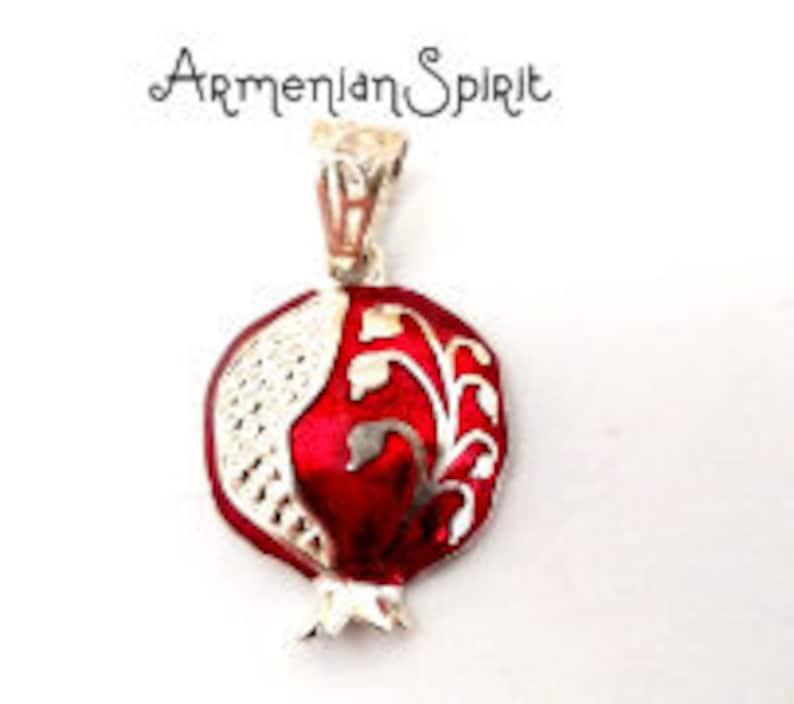 Armenian Jewelry Persephone Pendant Pomegranate jewelry Armenian Ethnic  pendant red pomagranate charm SILVER 925 Armenian taraz pattern