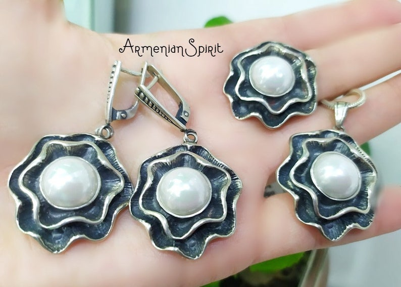 925 Silver jewelry set faux pearl white big Earrings ring pendant large Bridal sets Women Flower jewellery Armenian Handmade wedding jewelry