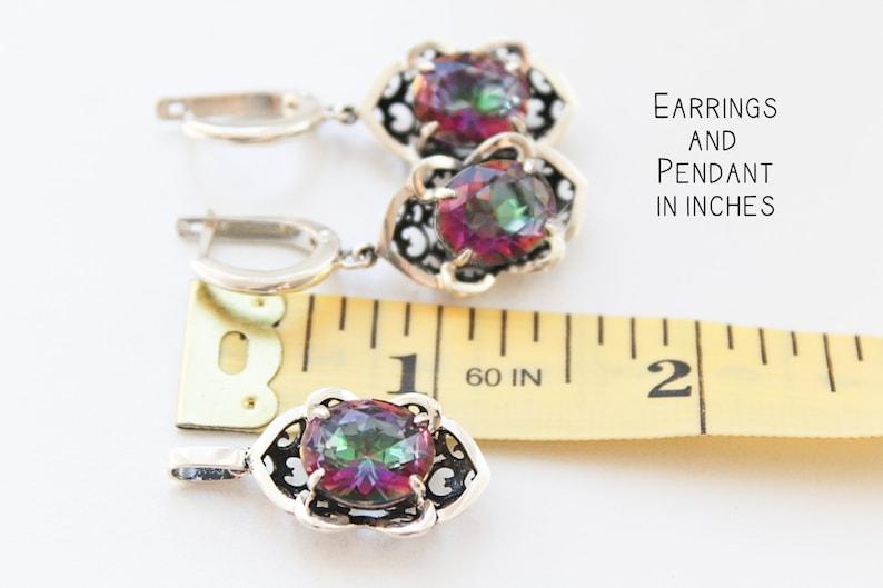 Alexandrite jewelry set Dangle Drop earrings and ring SILVER 925 Purple rings Armenian jewellery Violet Wedding Victorian tudor ring
