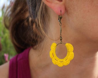 Earrings Dany crocheted bright yellow Bohemian style