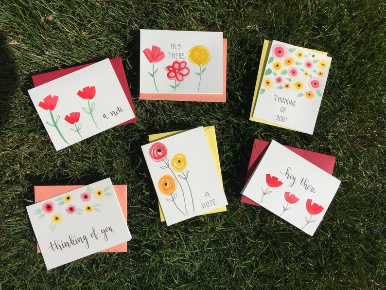 6 Pack-Greeting Cards  Greeting Card Set  Hand Painted Cards   Thinking of You Card  Just Because Cards  Hello Cards   Card Bundle