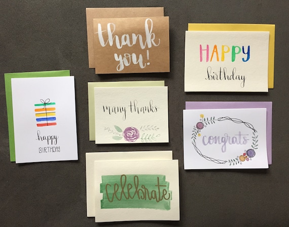 6 Pack Greeting Cards Card Set Hand Painted