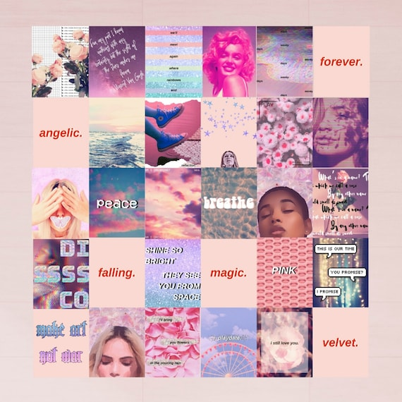 Pink Aesthetic Room Decor Photo Wall Collage Kit Set Of 30 Etsy