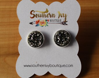 Graphite Gray Druzy Earring Silver Post