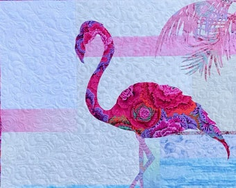 Fiona Quilt Pattern / Flamingo / Quilted Wall Hanging / Pattern / Quilt Patterns / Coastal Decor/ Fusible Applique / Use Both Sides