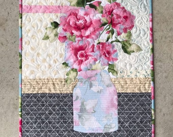 Grace Quilt Kit/Quilt Kit/Quilted Wall Hanging/Pattern/Mason Jar/Focus Fabric Kit/Fusible Applique/Quilt Patterns/Flowers/Use Both Sides
