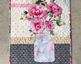 Grace/Quilted Wall Hanging/Mason Jar/Pattern/Grace Quilt Pattern/Fusible Applique/Quilt Patterns/Flowers/Bouquet/Art Quilts/Use Both Sides