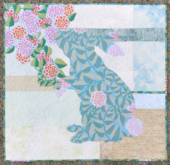 Quilt Patterns/Bunny Quilts/Wall Hangings/Rabbit Quilts/Easter  Quilts/Fusible Applique/Use Both Sides/Baby/Easter/Patterns/Broderie Perse