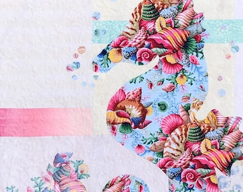 Sally Quilt Pattern / Seahorse Quilt / Quilted Wall Hanging / Pattern/ Quilt Patterns / Coastal Decor / Fusible Applique / Use Both Sides