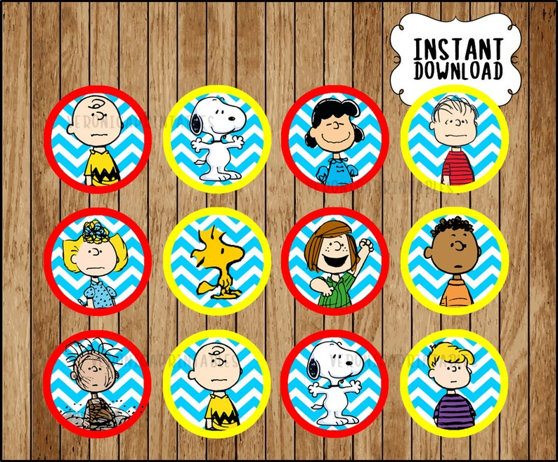 image regarding Snoopy Printable known as Peanuts Toppers immediate down load, Printable Snoopy occasion cupcakes Topper, Charlie Brown cupcakes toppers