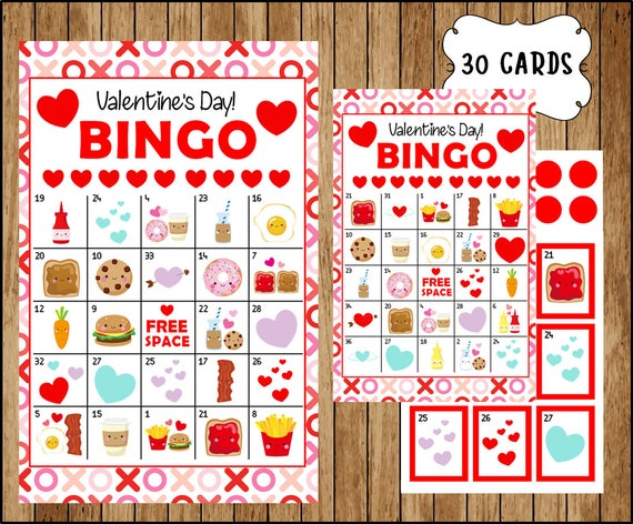 image about Printable Valentines Bingo Cards named 30 Valentines Bingo Playing cards - Printable Valentine Bingo Playing cards - Prompt Obtain - Valentines Working day Video game - Best Few bingo