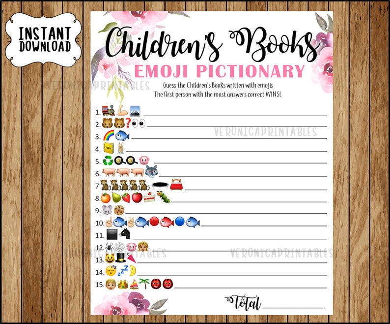 Floral Baby Shower Game Children S Book Emoji Pictionary Etsy