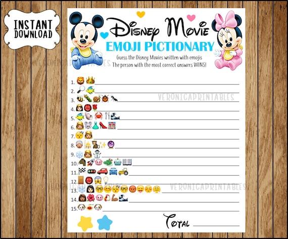 Disney Movie Emoji Pictionary Baby Shower Game Mickey And Etsy