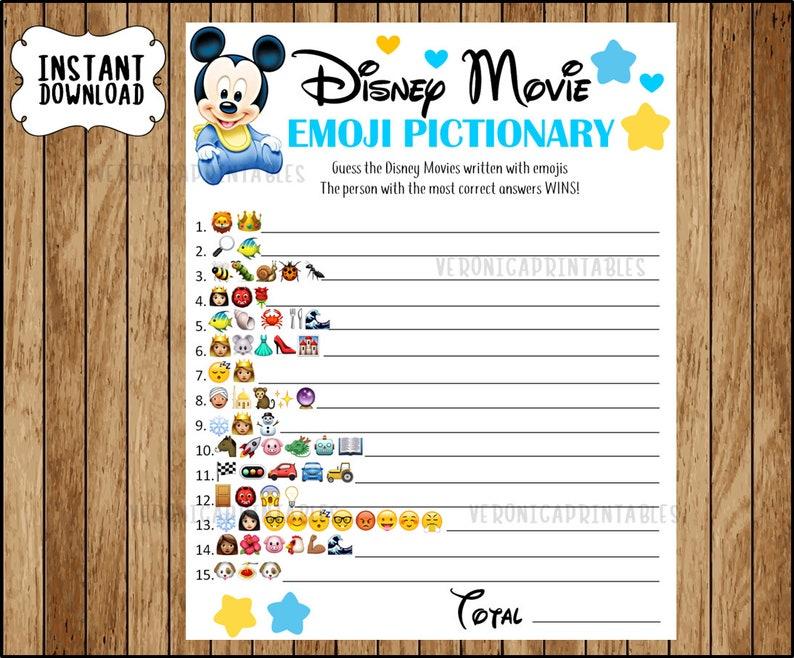 Disney Movie Emoji Pictionary Baby Shower Game Mickey Baby Etsy