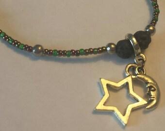 Moon and Star beaded charm bracelet