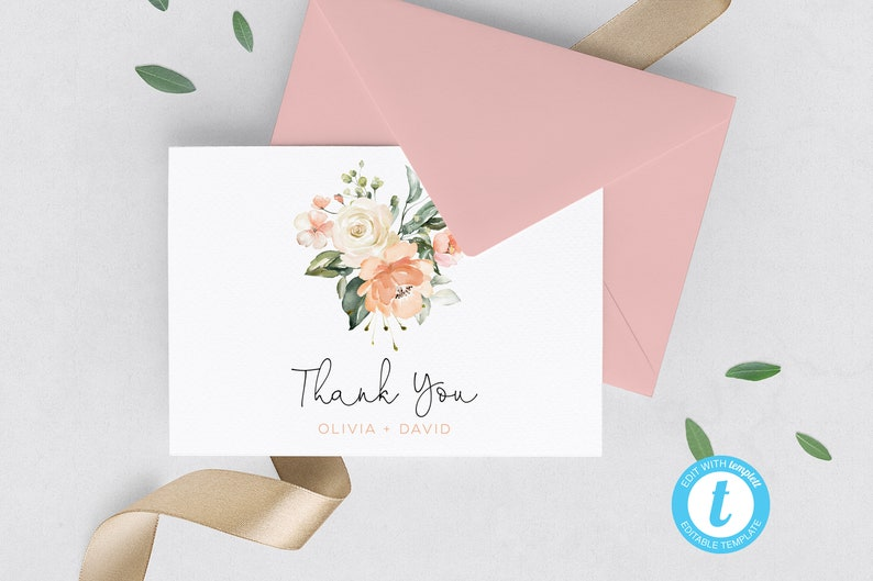 No downloading software! EASY A1 Size Template For Personalization Spring Floral Printable Thank You Card