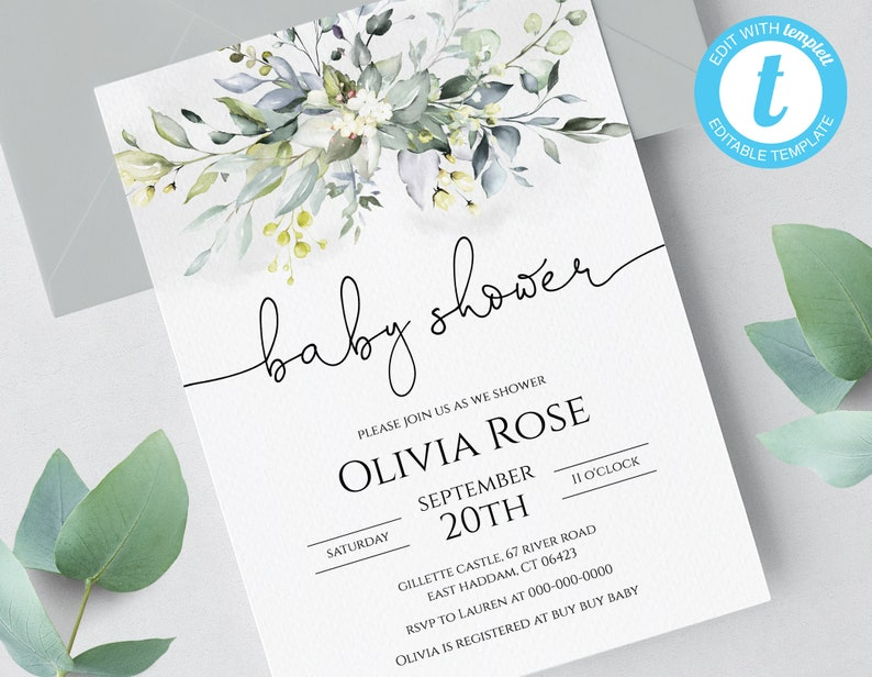 image about Printable Baby Shower Invitation Templates identify Greenery Boho Printable Youngster Shower Invitation Template, Basic, No Downloading application!