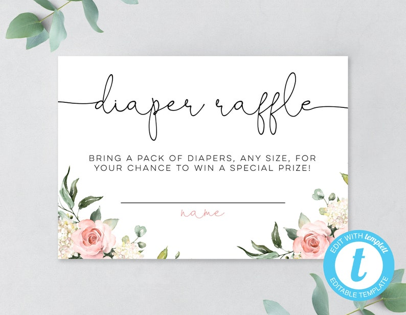 Spring Blush Floral Printable Baby Shower Diaper Raffle Insert Template No downloading software! EASY