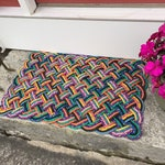Maine rope rug, Upcycled lobster rope, Maine made welcome mat, Nautical doormat, Vibrant outdoor mat as featured in HGTV Magazine