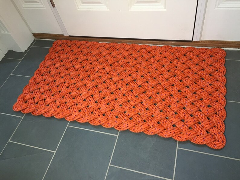 Large classic Maine lobster rope rug Recycled lobster rope image 0