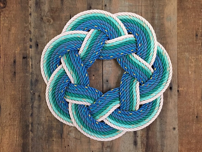 Beach Rope Wreath Upcycled lobster rope Maine made Nautical image 0