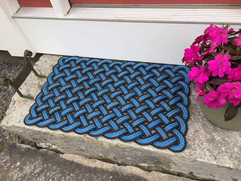 Maine rope mat Nautical door mat Recycled lobster rope image 0