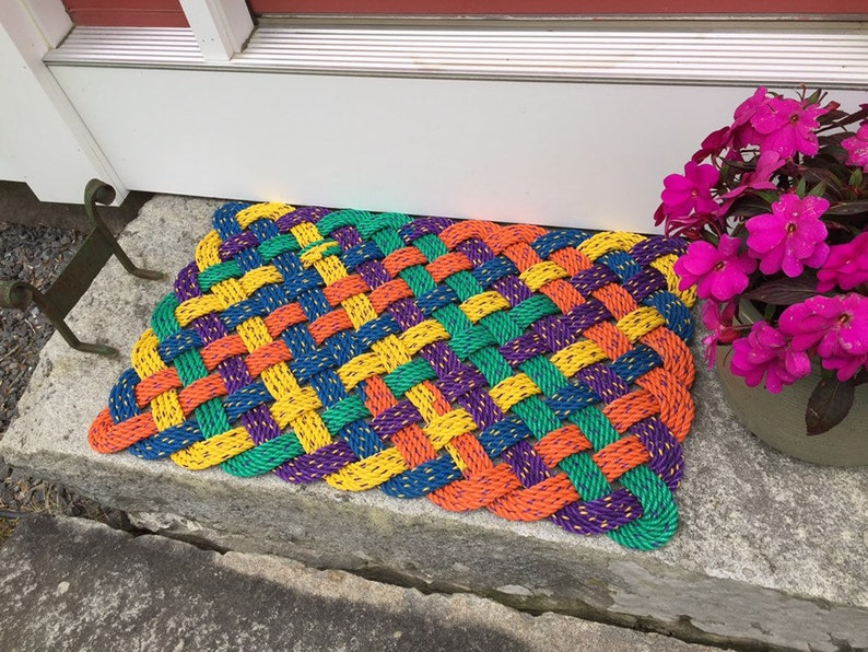 Maine rope rug Upcycled lobster rope Maine made Nautical image 0