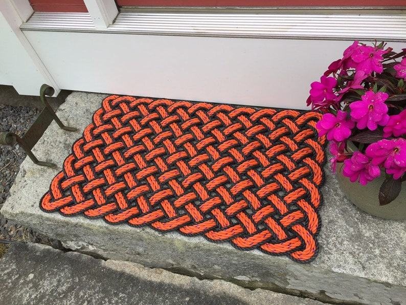 Maine lobster rope rug Nautical welcome mat Black and Orange image 0