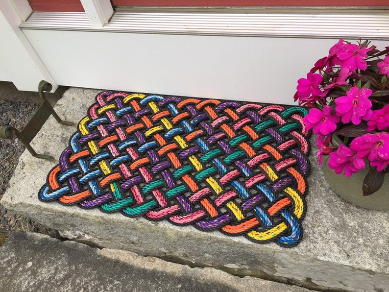 Maine rope welcome mat Recycled lobster rope Maine made image 0
