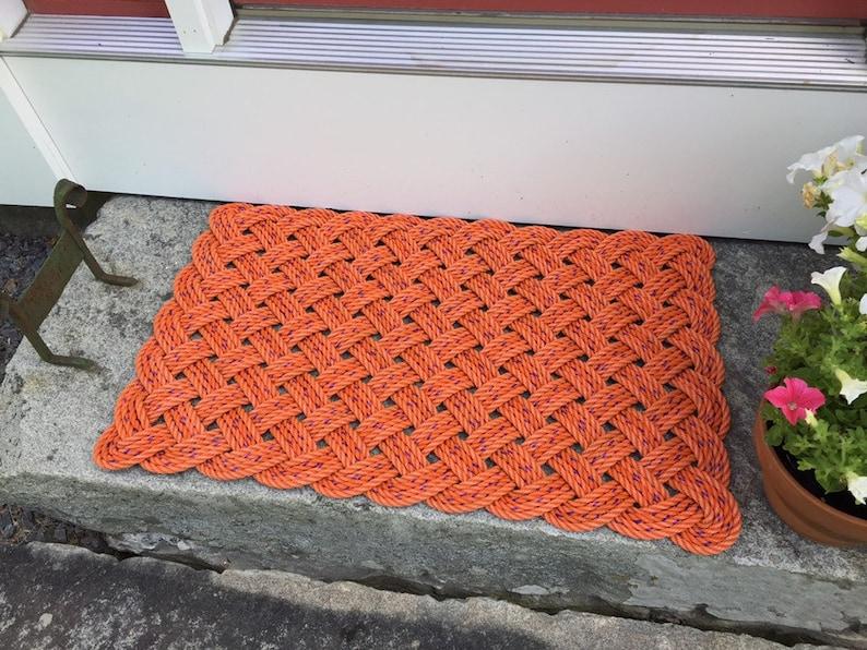 Lobster rope doormat Nautical welcome mat Orange door mat image 0