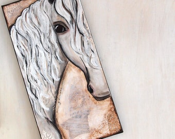 Gentle Warrior - Pferd - Keilrahmen - Leinwand, Original mixed-media Kunstwerk, Wandbild, Pferdeliebhaber, ca. 60cm x 30cm