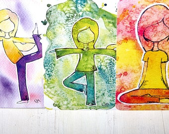 """Postkarten-Set """"YogaLOVE"""", 6 Postkarten, 3 verschiedene Motive: Schneidersitz, Baum, Tänzer."""