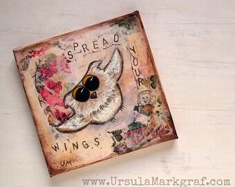 Spread your wings - Eulen-Weisheiten-Keilrahmen, Mixed media Kunst, Friends, Trust yourself, Geschenk für sie