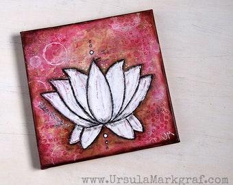 HEALING - Lotus-Keilrahmen, Original Mixed media Kunstwerk, 20cm x 20cm, Wandbild, Leinwand, Yoga-Liebhaber