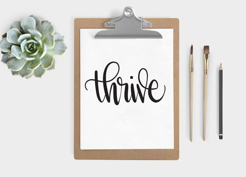 Hand Lettered Word of the Year  Thrive INSTANT DOWNLOAD image 0
