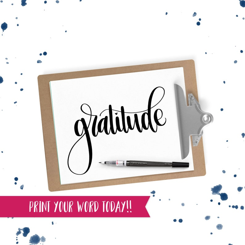 Hand Lettered Word of the Year  Gratitude  INSTANT DOWNLOAD image 0