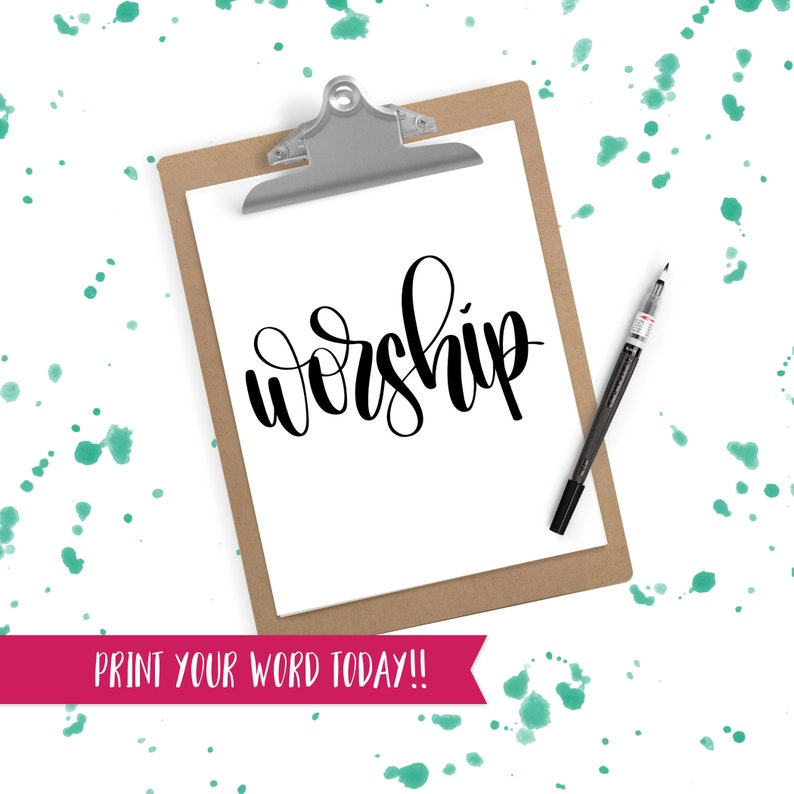 Hand Lettered Word of the Year  Worship  INSTANT DOWNLOAD image 0