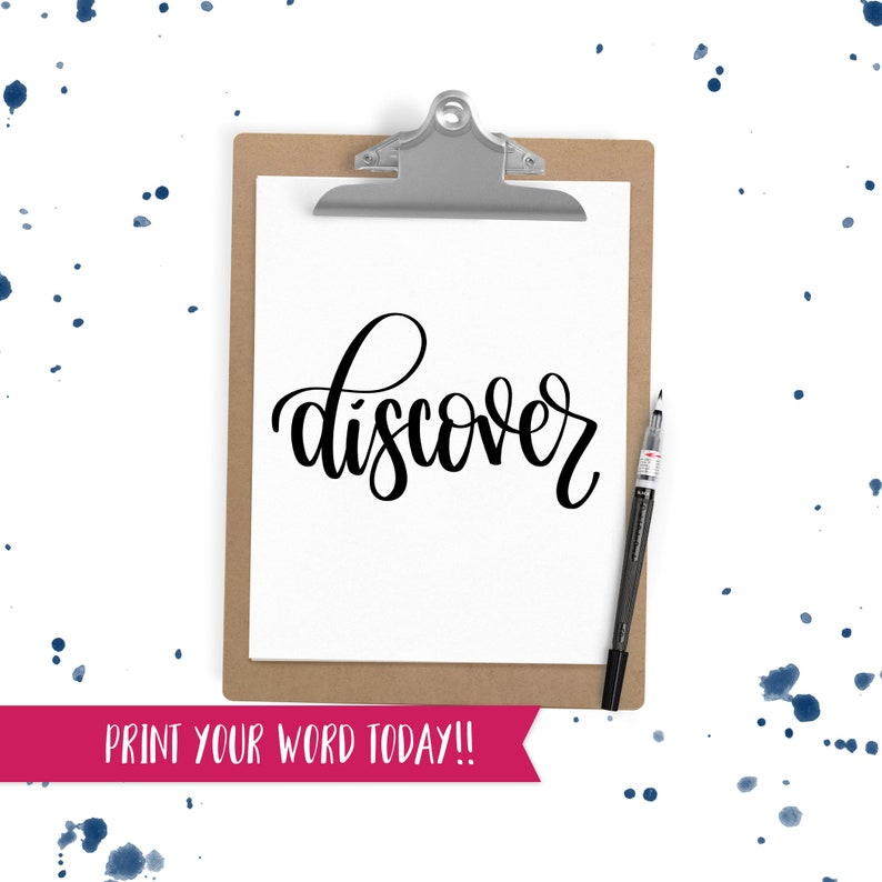 Hand Lettered Word of the Year  Discover  INSTANT DOWNLOAD image 0