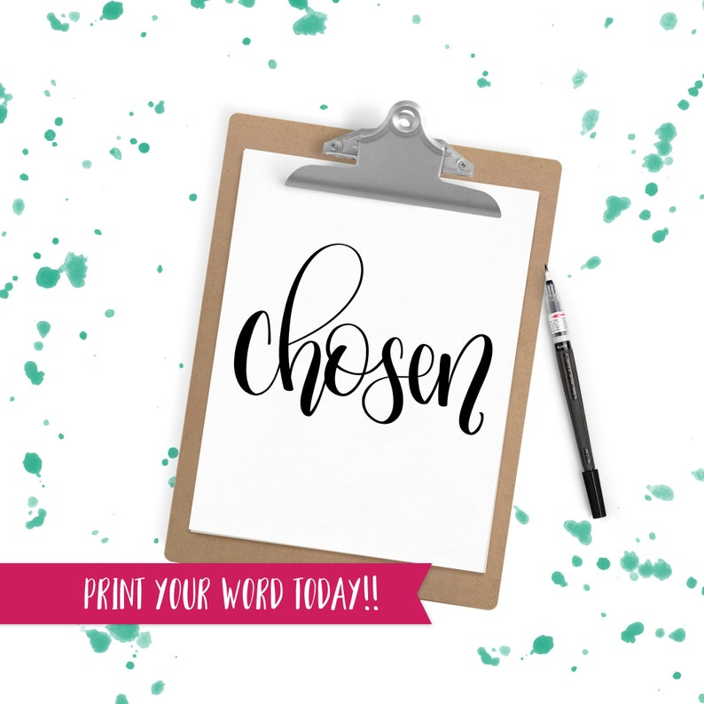 Hand Lettered Word of the Year  Chosen  INSTANT DOWNLOAD image 0