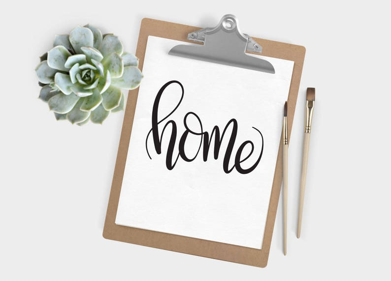 Hand Lettered Word of the Year  Home  INSTANT DOWNLOAD image 0