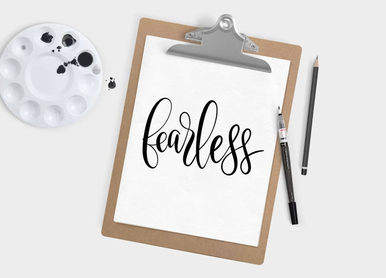 Hand Lettered Word of the Year  Fearless  INSTANT DOWNLOAD image 0