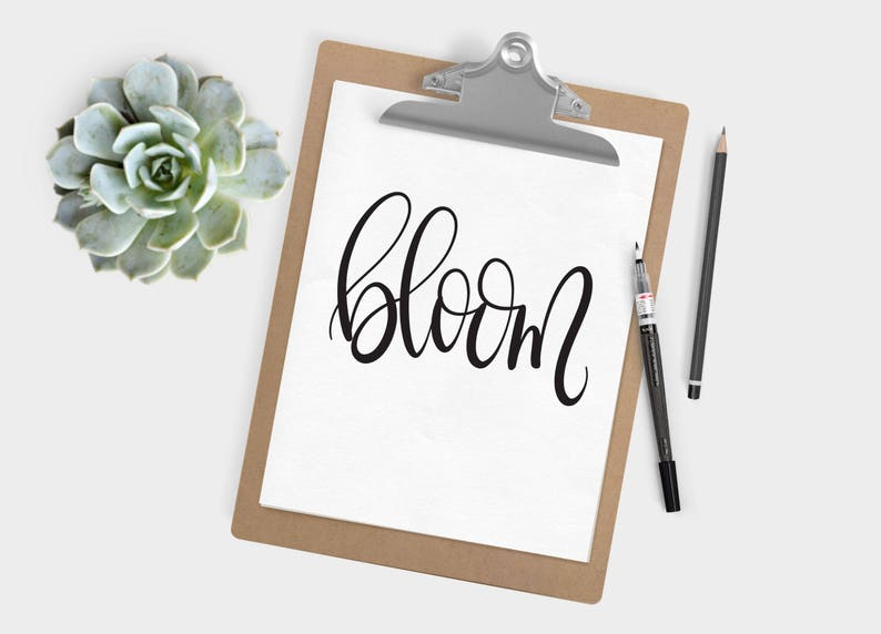 Hand Lettered Word of the Year  Bloom  INSTANT DOWNLOAD image 0