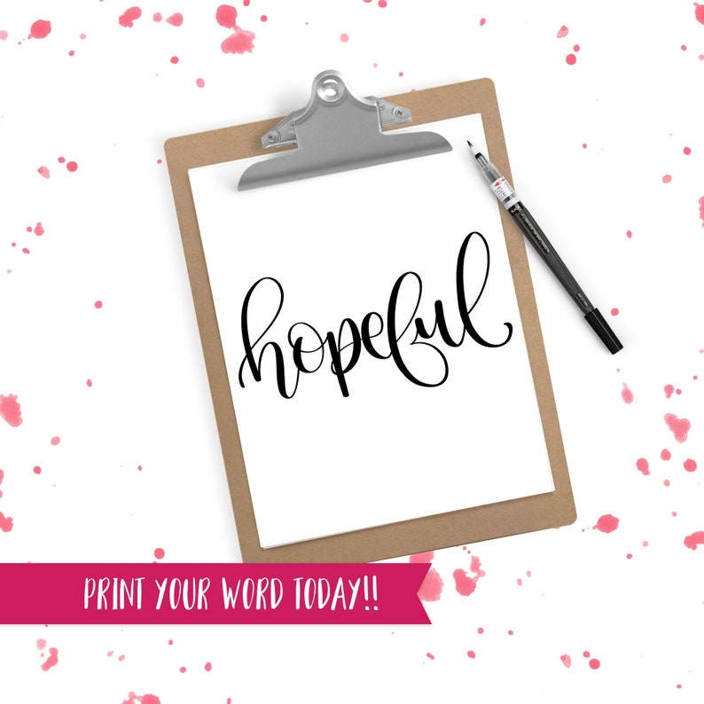 Hand Lettered Word of the Year  Hopeful  INSTANT DOWNLOAD image 0