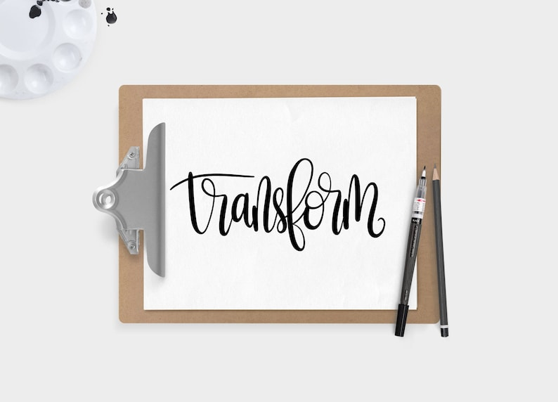Hand Lettered Word of the Year  Transform  INSTANT DOWNLOAD image 0