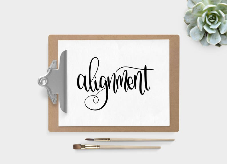 Hand Lettered Word of the Year  Alignment  INSTANT DOWNLOAD image 0