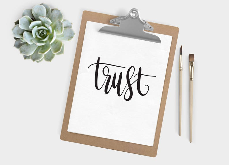 Hand Lettered Word of the Year  Trust  INSTANT DOWNLOAD image 0