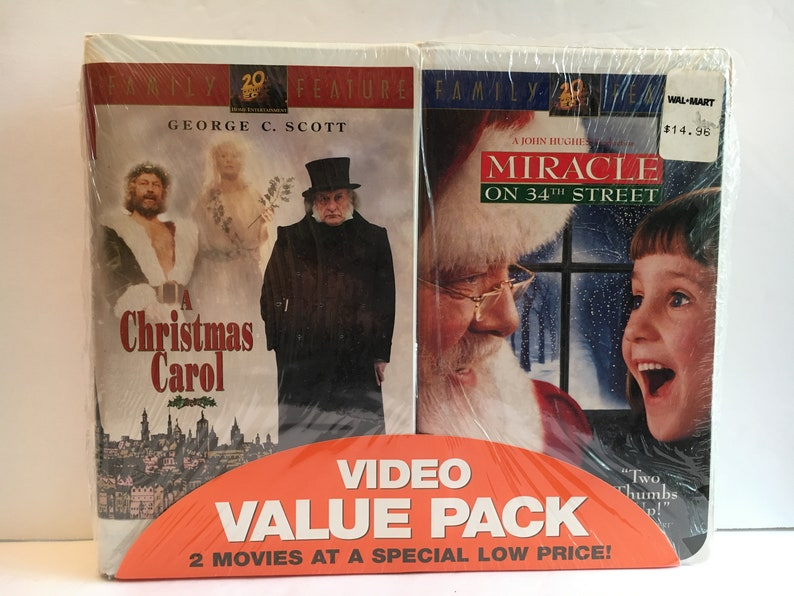 George C Scott A Christmas Carol.Vhs Video Christmas Dual Pack A Christmas Carol And Miracle On 34th Street