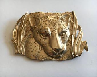 Large Leopard Cat Head Pin Jonette Jewelry ©JJ Gold Tone 1986